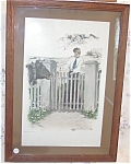 Antique Print Clarence Underwood Country Victorian Lady & Cow