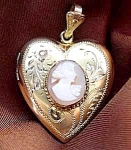 Victorian Cameo Heart Locket - Engraved Floral
