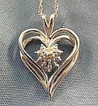 10k White Gold Heart Pendant - 18 Inch Chain