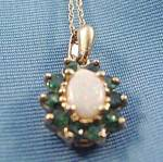 10k Y.g. Opal And Emerald Pendant - 18 Inch Chain