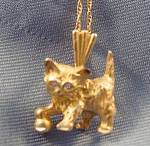 14k Yellow Gold Cat Kitten Pendant - 18 Inch Chain