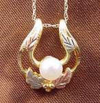 Black Hills Gold Pendant With Pearl - 10k -12k Y.g.