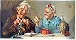 Counrty Print: Grandma & Grandpa: Friends: Antique Litho