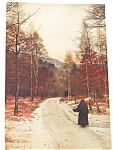 Farm & Country Print: Lady On Rural Road In Winter