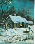Country Prints: Winter Night Scene: Moonlight: House