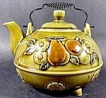 Ceramic Teapot - 1970s Olive Green - Embossed Fruit