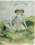 Golf Romance Prints: Clarence Underwood Lady & Man Golfing