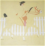 Vintage Coles Phillips Fade Away Print Colonial Lady Riding Horse