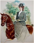 Victorian Equestrian Prints: Lady Horseback Riding Side Saddle