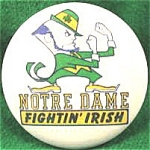 Large Notre Dame Leprechaun Pin Back Button