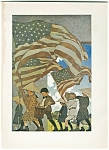 Vintage Maxfield Parrish Print Patriotic Children Flag