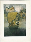 Vintage Art Maxfield Parrish Print Children On Boat.