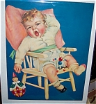 Vintage Print Charlotte Becker Sleepy Baby In Highchair
