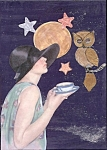 Full Moon Lady & Owl Having Tea Mixed Media Art Print Collag