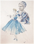 Fashion Painting Mother And Baby In Blue