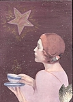 Evening Tea Under Star Lady Mixed Media Art Print Collage