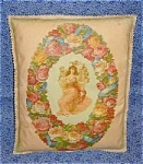 Antique Victorian Art Throw Pillow Angel & Roses