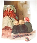 Antique & Vintage Prints Children & Grandmother Print