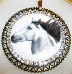 Large Horse Pendant Round Porcelain Rhinestones