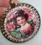 Victorian Girl Roses Pink Rhinestone Pendant