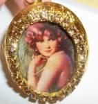Art Deco Lady Gold Locket Topaz Rhinestones