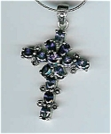 Marcasite Amethyst Glass Cross Pendant, Sterling Silver