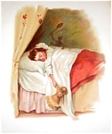Antique Victorian Print: Little Girl Asllep, Germany