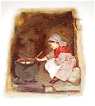 Antique Victorian Lithograpgh: Children Prints : Cooking