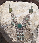 Huge Green Agate And Quartz Drop Necklace Silver