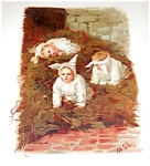 Antique Victorian Children Print, Germany 1800's