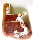 Antique Victorian Lithograpgh: Children Prints: Grandmother
