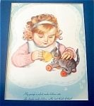 Vintage Prints: Children ; Maud Tousey Fangel, Girl Cat Tea