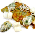 Orbicular Ocean Jasper Moonstone Silver Gemstone Necklace