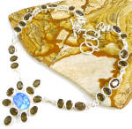 Large Smoky Topaz Blue Topaz Multi-gemstone Silver Necklace