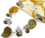 Xl Ammonite, Smoky Topaz, Biwa Pearl Silver Multi Gem Necklace