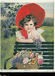 Vintage Print: Children ; Girl W/ Flowers Red Bonnet