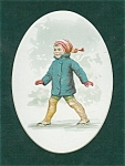 Vintage Victorian Children Print Boy Ice Skating