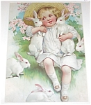 Vintage Little Girl With Bunny Rabbits Print, Easter Bonnet