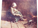 Vintage Print Colonial Mother And Baby At Fireside