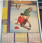 Vintage Art Calendar 1936 Me Swensen Children Skating