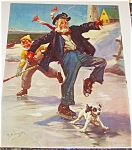 Children & Animals Prints: Boy Grandfather Dog: Ice Hockey