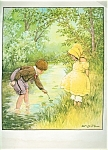 Children Prints; Country Scene: Boy & Girl Pond: Cm Burd