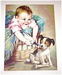 Old Laurette Patten Print Baby And Puppy Dog
