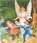 Victorian Children & Angels : Antique Print: Guardian Angel