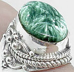 Large Seraphinite Ring Sterling Silver Gemstone Rings