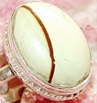 White Jasper Ring Sterling Silver Size 9.75