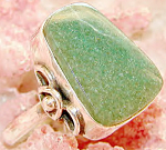 Big Green Quartz Ring Sterling Silver Large Size Rings