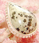 Dalmation Jasper Tear Drop Ring 8: Sterling Silver Gemstone Jewelry