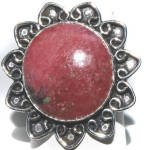 Big Round Rhodonite Ring Sterling Silver Gemstone Rings