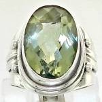 Big Green Amethyst Ring Sterling Silver Gemstone Jewelry
